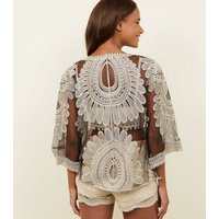 Cameo Rose Black Crochet Kimono New Look