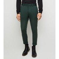 Dark Green Skinny Crop Trousers New Look