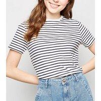 White Stripe Cotton T-Shirt New Look
