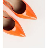 Bright Orange Neon Pointed Court Shoes New Look
