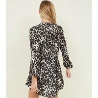 Cameo Rose Brown Leopard Print Smock Dress New Look