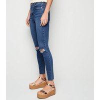 Blue Mid Wash 'Lift & Shape' Ripped Jenna Skinny Jeans New Look