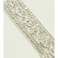 Silver Premium Diamanté Lattice Bracelet New Look