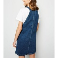 Blue Buckle Denim Pinafore Dress New Look