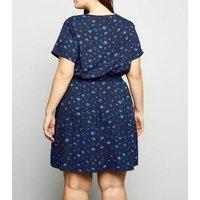 Curves Navy Leopard Print Shirred Waist Dress New Look