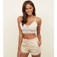 cameo rose cream crochet crop bralette new look