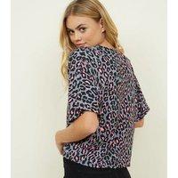 Carpe Diem Grey Contrast Leopard Print Top New Look