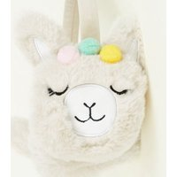 Cream Fluffy Faux Fur Llama Ear Muffs New Look
