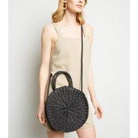 Black Woven Straw Effect Cross Body Bag New Look