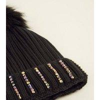 Multicoloured Gem Turn-Up Hem Bobble Hat New Look