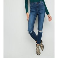 Tall Blue Ripped High Rise Skinny Jeans New Look