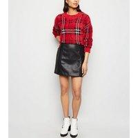 Black Leather-Look Mini Skirt New Look