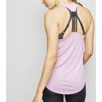 Lilac Marl Mesh Racerback Sports Vest New Look