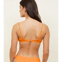 Bright Orange Neon Scoop Crop Bikini Top New Look