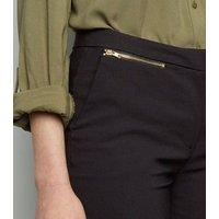 Black Zip Slim Leg Trousers New Look