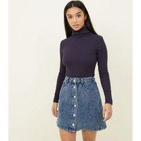 Petite Blue Acid Wash Button Front Denim Skirt New Look