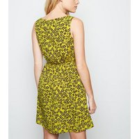 Yellow Ditsy Floral Shirred Waist Dress New Look