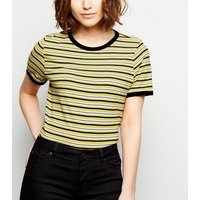yellow-multi-stripe-ringer-tshirt-new-look