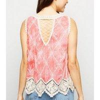 Pink Tie Dye Crochet Sleeveless Top New Look
