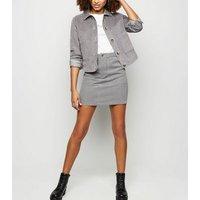 Grey Corduroy Mini Skirt New Look