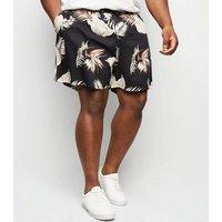 Plus Size Black Leaf Print Tie Waist Shorts New Look