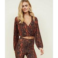 Pink Vanilla Orange Snake Print Crop Top New Look