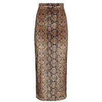 Pink Vanilla Brown Snake Print Maxi Skirt New Look