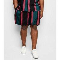 Plus Size Teal Vertical Stripe Tie Waist Shorts New Look