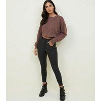 Light Brown Cropped Sweatshirt New Look