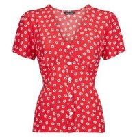 red-floral-tie-back-button-front-blouse-new-look
