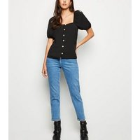 black-square-neck-button-up-top-new-look