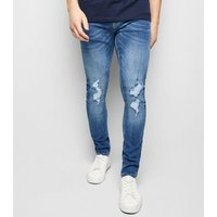 Blue Ripped Super Skinny Stretch Jeans New Look