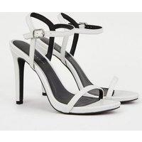 White Faux Croc 2 Part Stiletto Sandals New Look