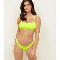 Yellow Neon V Front Bikini Bottoms New Look