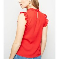 Red Frill Trim Crepe Blouse New Look