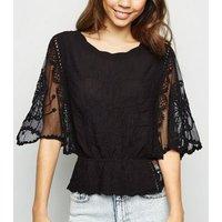 Black Crochet Mesh Sleeve Peplum Blouse New Look
