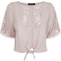 Pale Pink Crochet Tie Front T-Shirt New Look