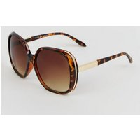 Dark Brown Faux Tortoiseshell Rectangular Sunglasses New Look