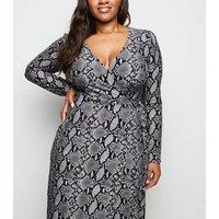 Curves Grey Snake Print Wrap Midi Dress New Look