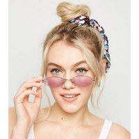 Lilac Rimless Mini Oval Sunglasses New Look