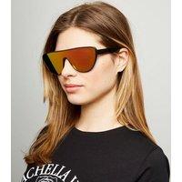 Black Iridescent Visor Sunglasses New Look