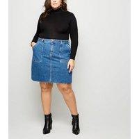 Curves Blue Raw Hem Denim Utility Skirt New Look