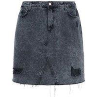 Curves Black Ripped Acid Wash Denim Skirt New Look