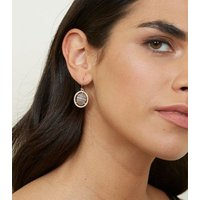 Grey Gem and Diamante Drop Earrings New Look