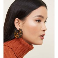 Brown Tortoiseshell Resin Laser Cut Hoop Earrings New Look