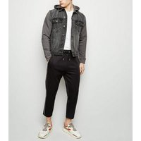 Dark Grey Jersey Sleeve Denim Jacket New Look
