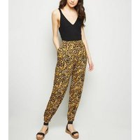 Yellow Leopard Print Joggers New Look