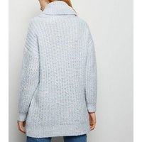 Pale Blue Nep Knit Roll Neck Jumper New Look