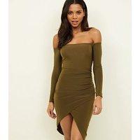 Khaki Slinky Wrap Skirt Bardot Dress New Look