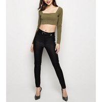 Khaki Long Sleeve Corset Seam Crop Top New Look